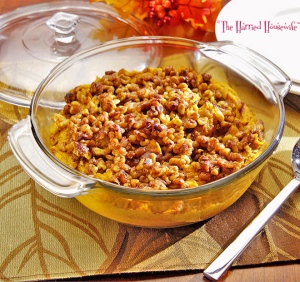 Mashed Sweet Potatoes with Sugared Walnuts