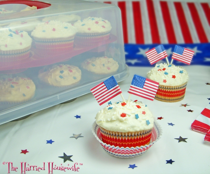 Red, White, and Blue Sprinkle Cupcakes