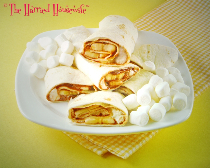 Chocolate Peanut Butter and Banana Roll Up with Marshmallows