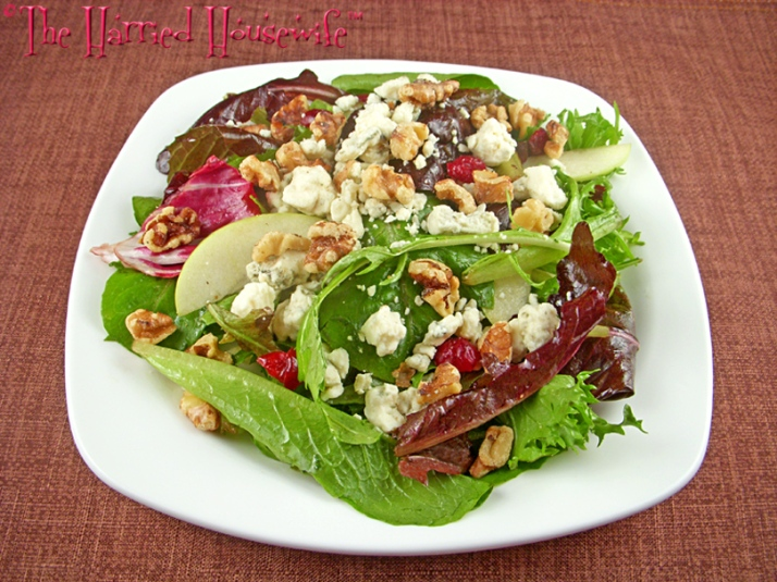 Mixed Greens and Apple Salad with Cherries, Blue Cheese, and Walnuts
