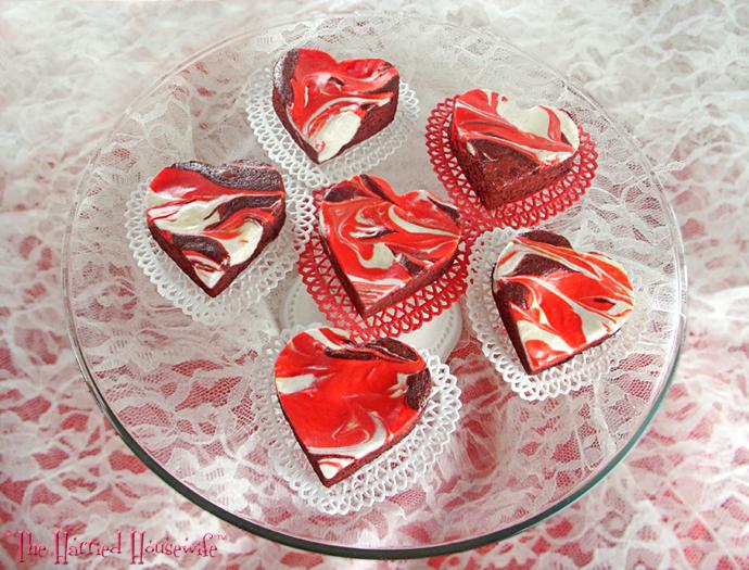 Red Velvet Cheesecake Brownie Hearts