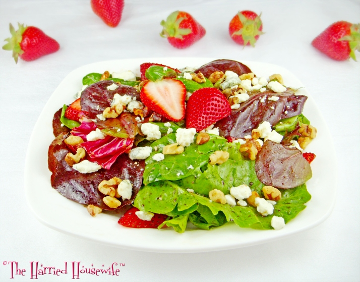 Spring Greens and Strawberry Salad with Blue Cheese and Walnuts